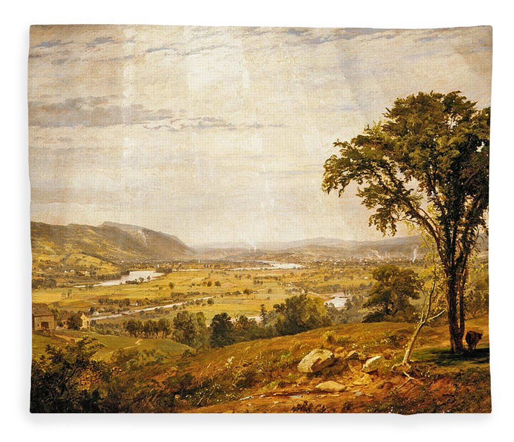 Jasper Francis Cropsey Fleece Blanket featuring the painting Wyoming Valley. Pennsylvania by Jasper Francis Cropsey