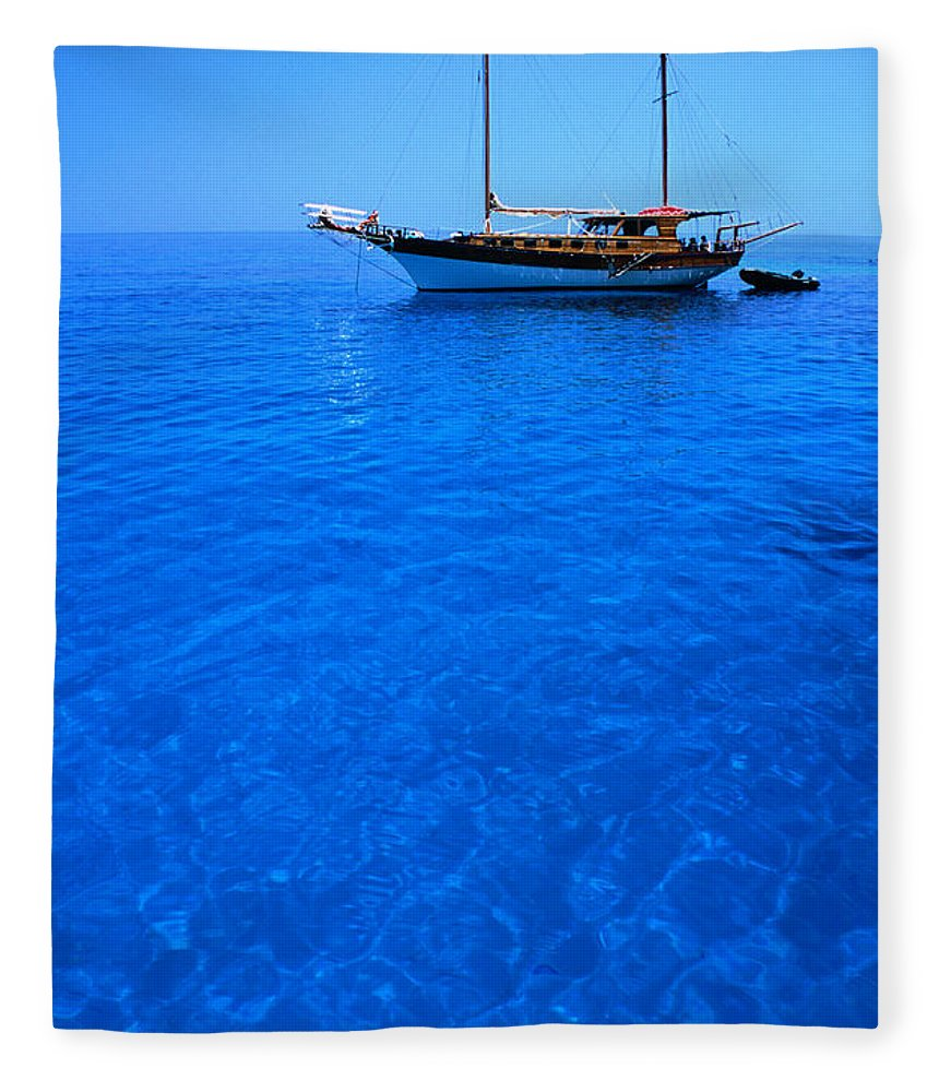 Freight Transportation Fleece Blanket featuring the photograph Yacht Anchored In The Spectacular by Dallas Stribley