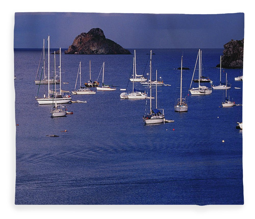 Sailboat Fleece Blanket featuring the photograph Yachts Moored On The Caribbean Sea Near by Richard I'anson