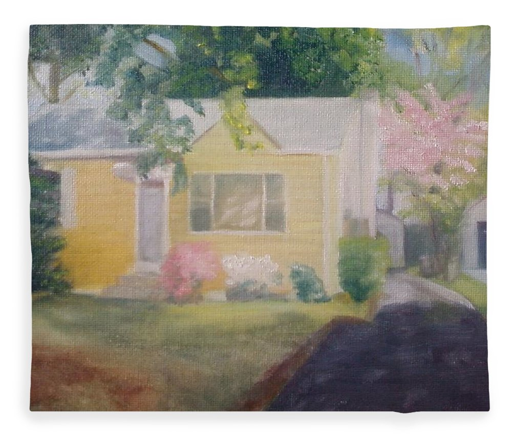 Burlington Township Fleece Blanket featuring the painting Yellow House by Sheila Mashaw
