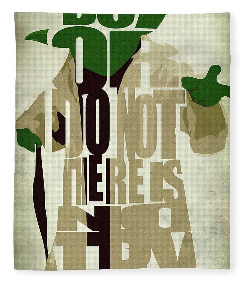 Yoda Fleece Blanket featuring the digital art Yoda - Star Wars by Inspirowl Design