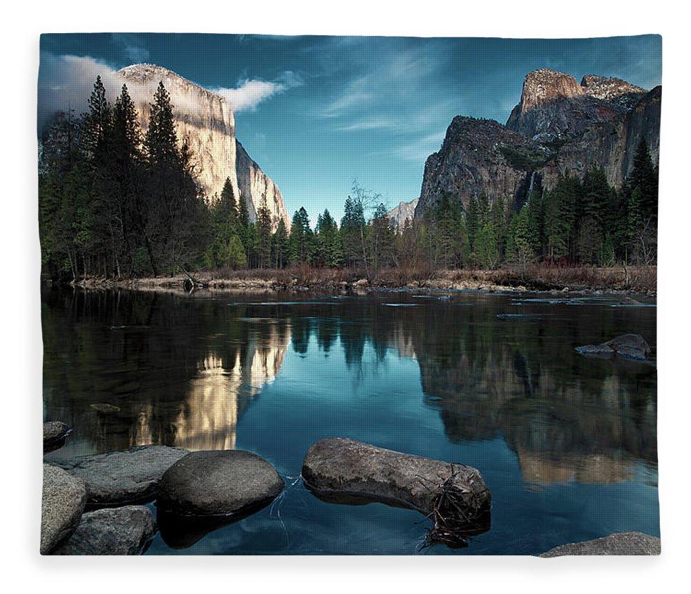 Scenics Fleece Blanket featuring the photograph Yosemite Valley by Joe Ganster