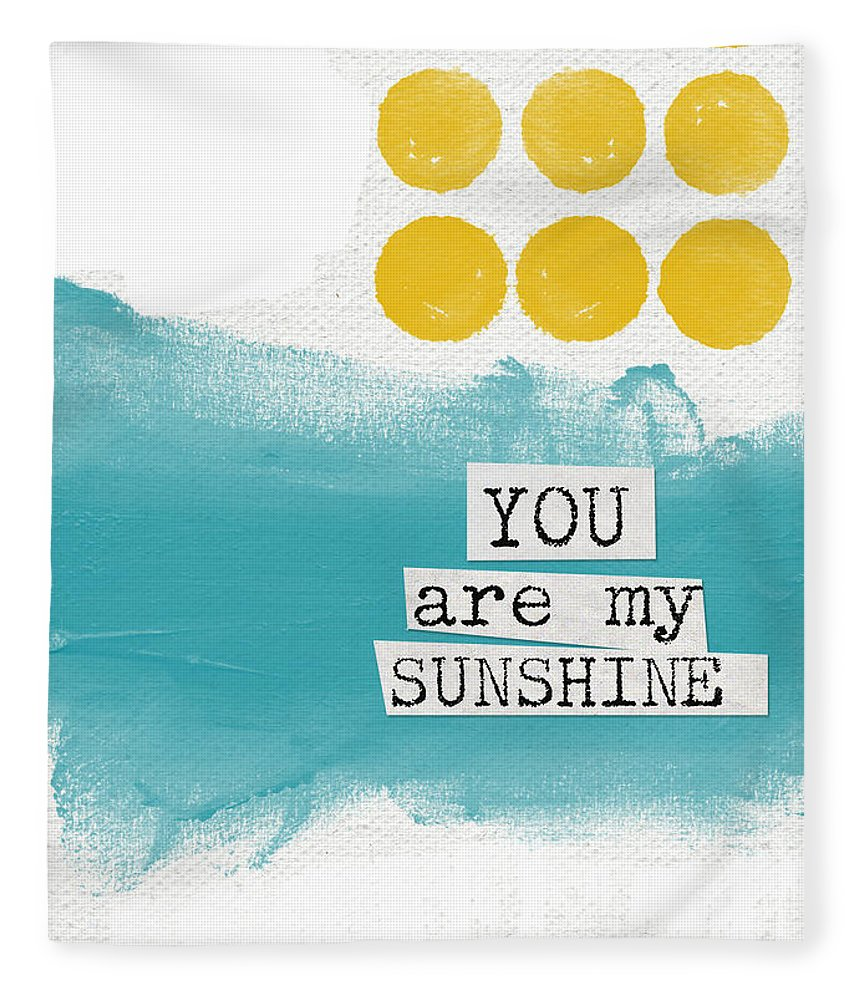 Love Fleece Blanket featuring the painting You Are My Sunshine- abstract mod art by Linda Woods