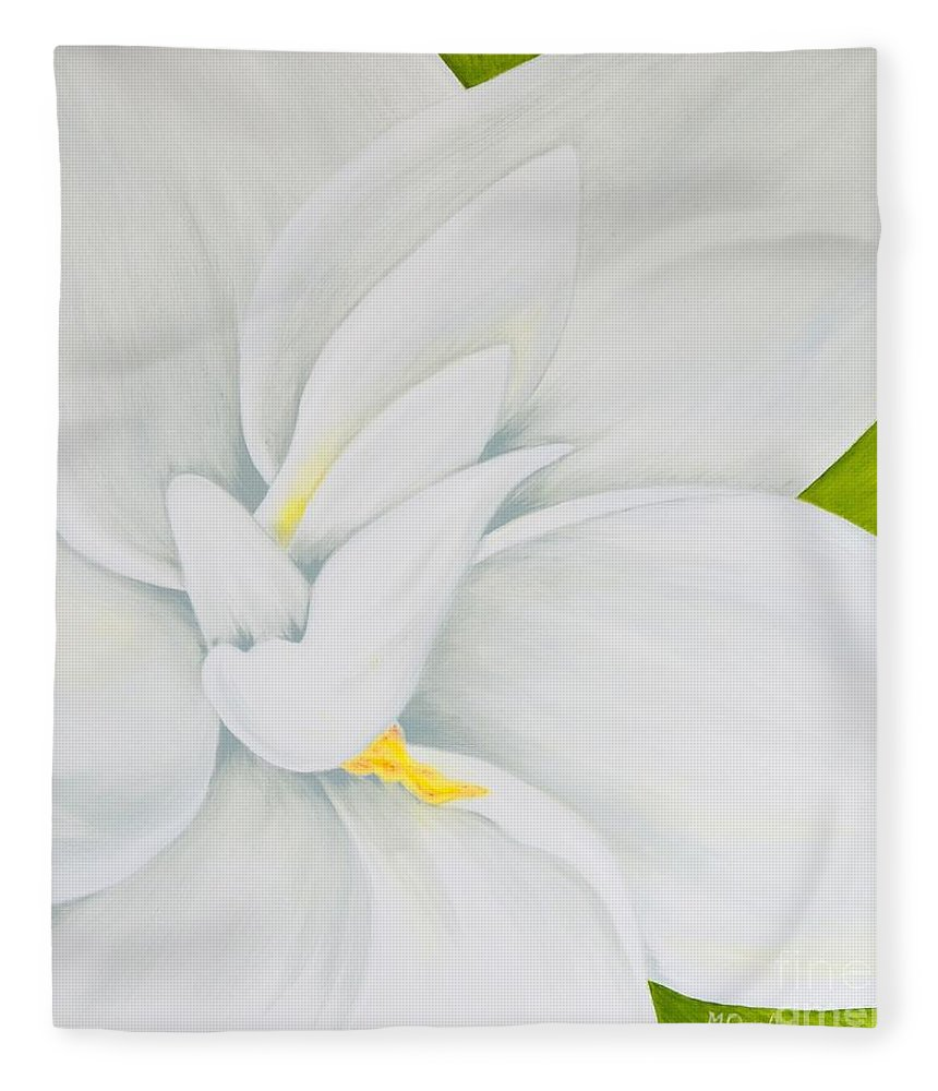 Gardenia Fleece Blanket featuring the painting Young Gardenia by Mary Deal