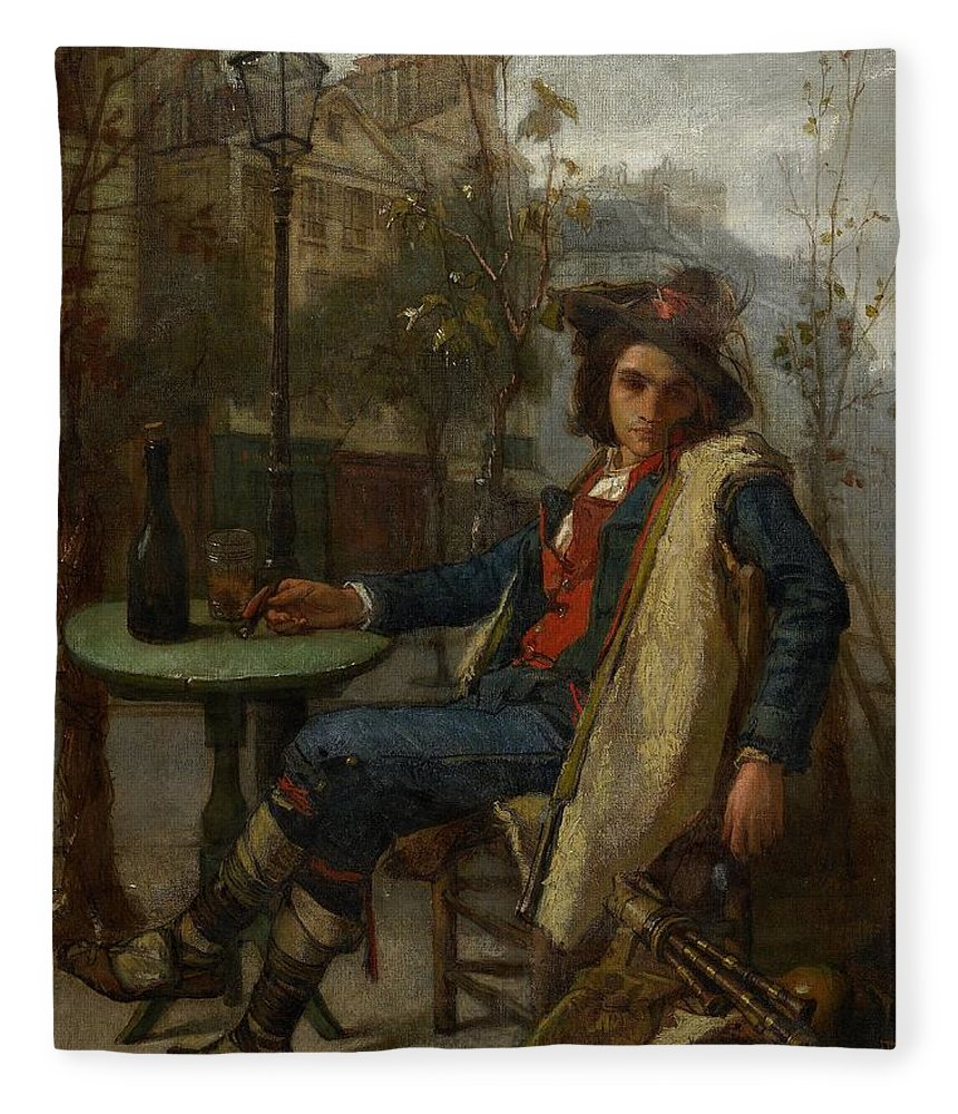 Young Italian Street Musician Fleece Blanket featuring the painting Young Italian Street Musician by Thomas Couture