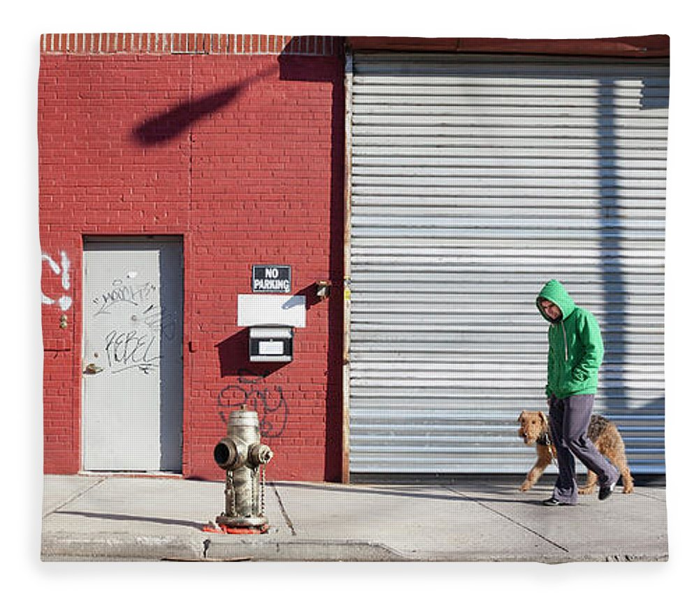 Pets Fleece Blanket featuring the photograph Young Man Walks Dog by Alex Potemkin