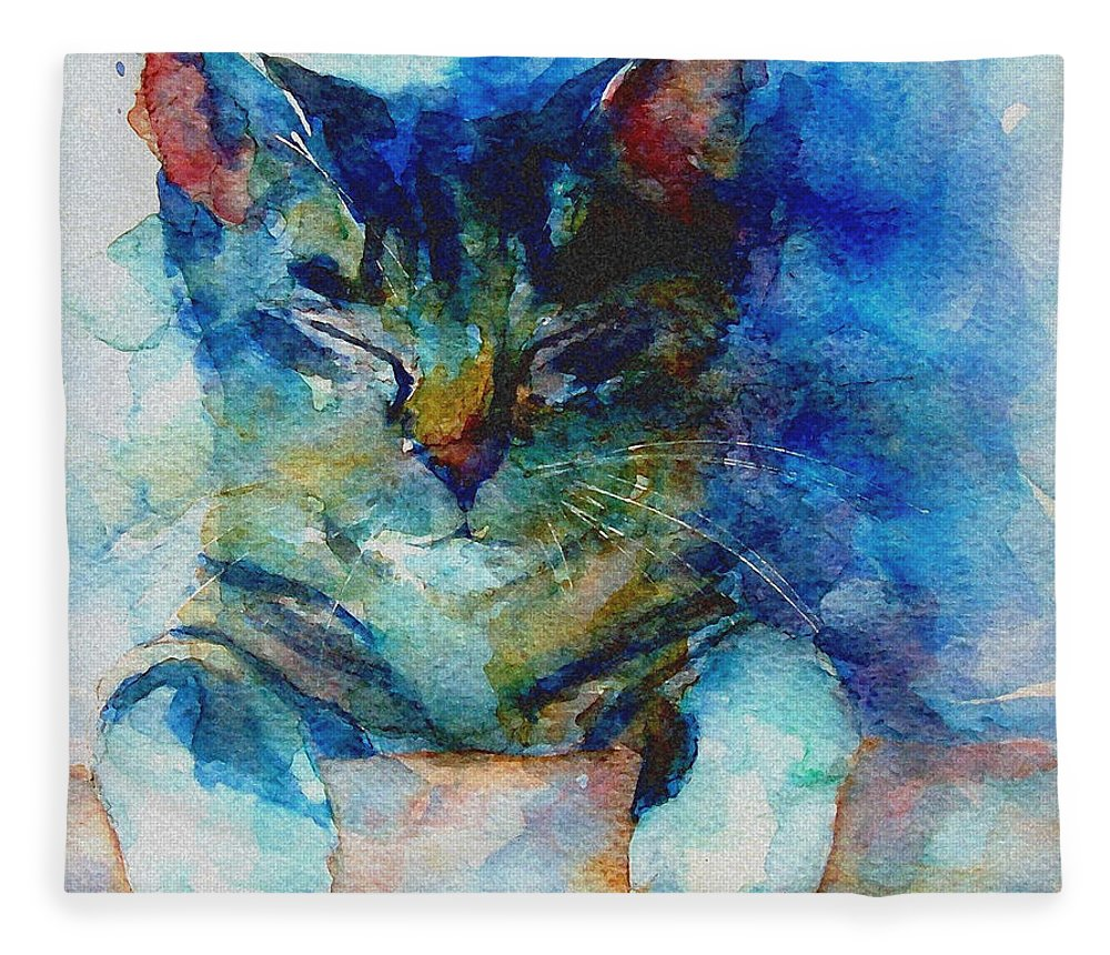 Cat Fleece Blanket featuring the painting You've Got A Friend by Paul Lovering