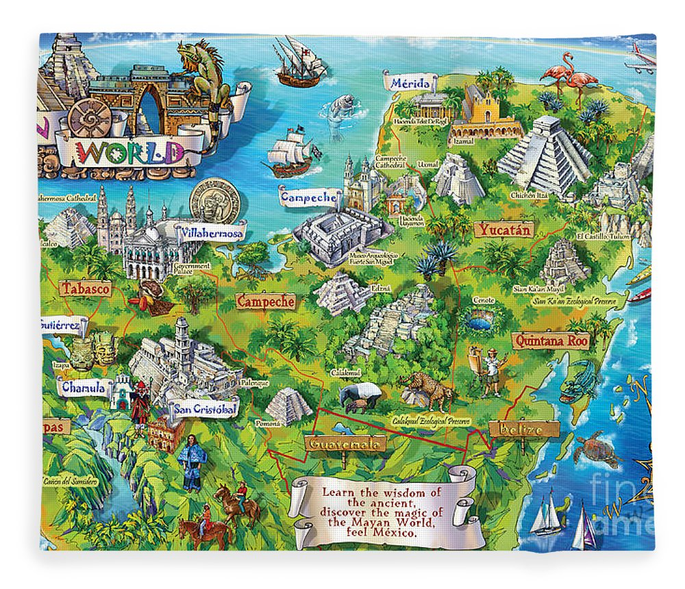 Yucatan Map Illustration Fleece Blanket
