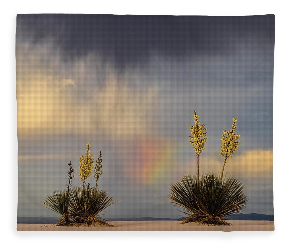Tranquility Fleece Blanket featuring the photograph Yuccas, Rainbow And Virga by Don Smith