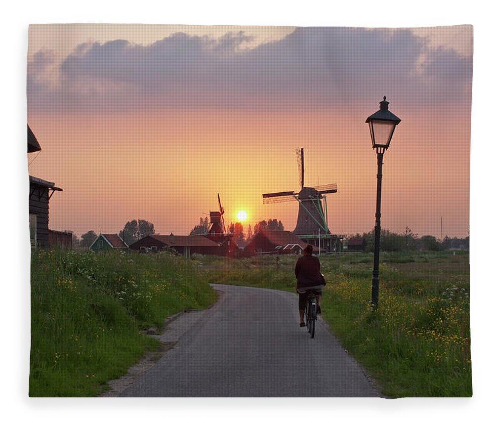 North Holland Fleece Blanket featuring the photograph Zaanse Schans Windmills by Ivan