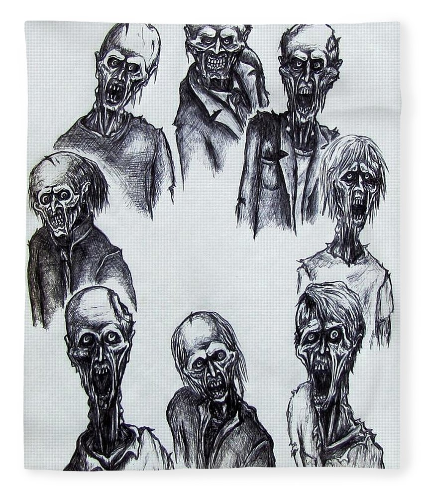 Michael Fleece Blanket featuring the drawing Zombies by Michael TMAD Finney