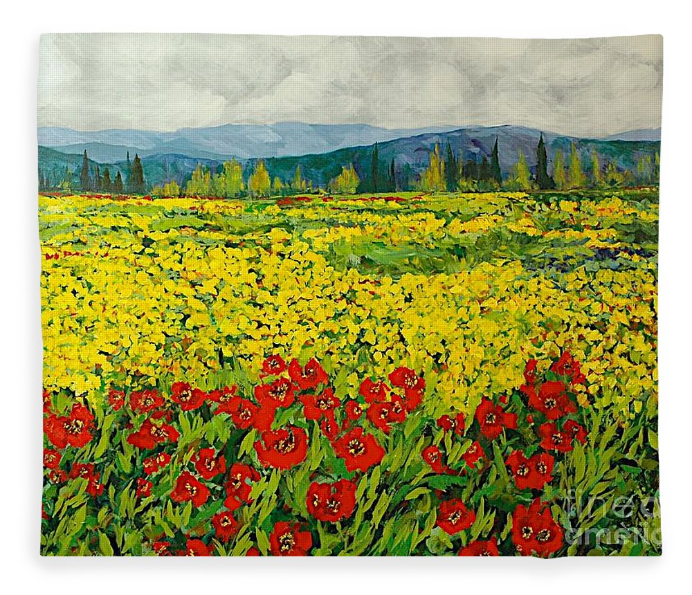 Landscape Fleece Blanket featuring the painting Zone Des Fleur by Allan P Friedlander
