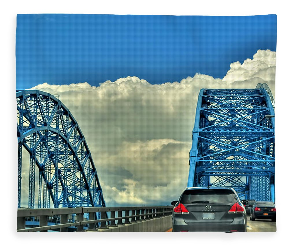 Fleece Blanket featuring the photograph 005 Grand Island Bridge Series by Michael Frank Jr