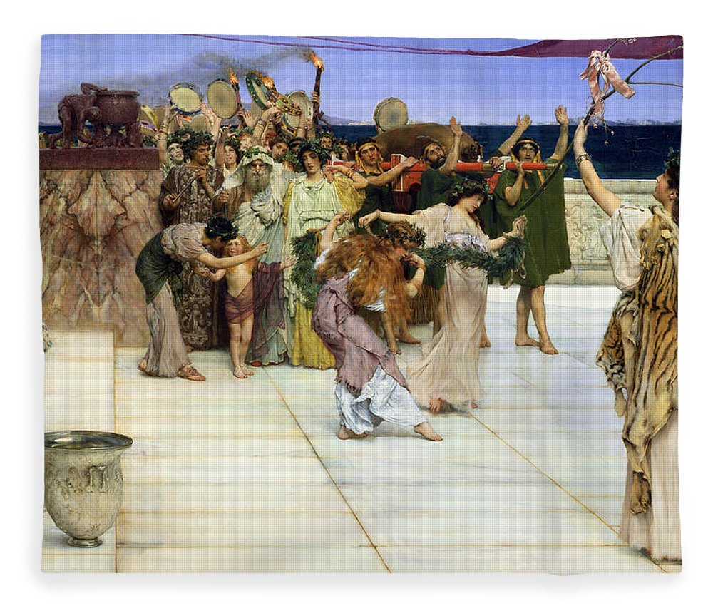 Dedication Fleece Blanket featuring the painting A Dedication To Bacchus by Sir Lawrence Alma-Tadema