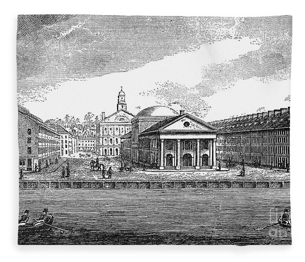 19th Century Fleece Blanket featuring the photograph Boston: Quincy Market by Granger