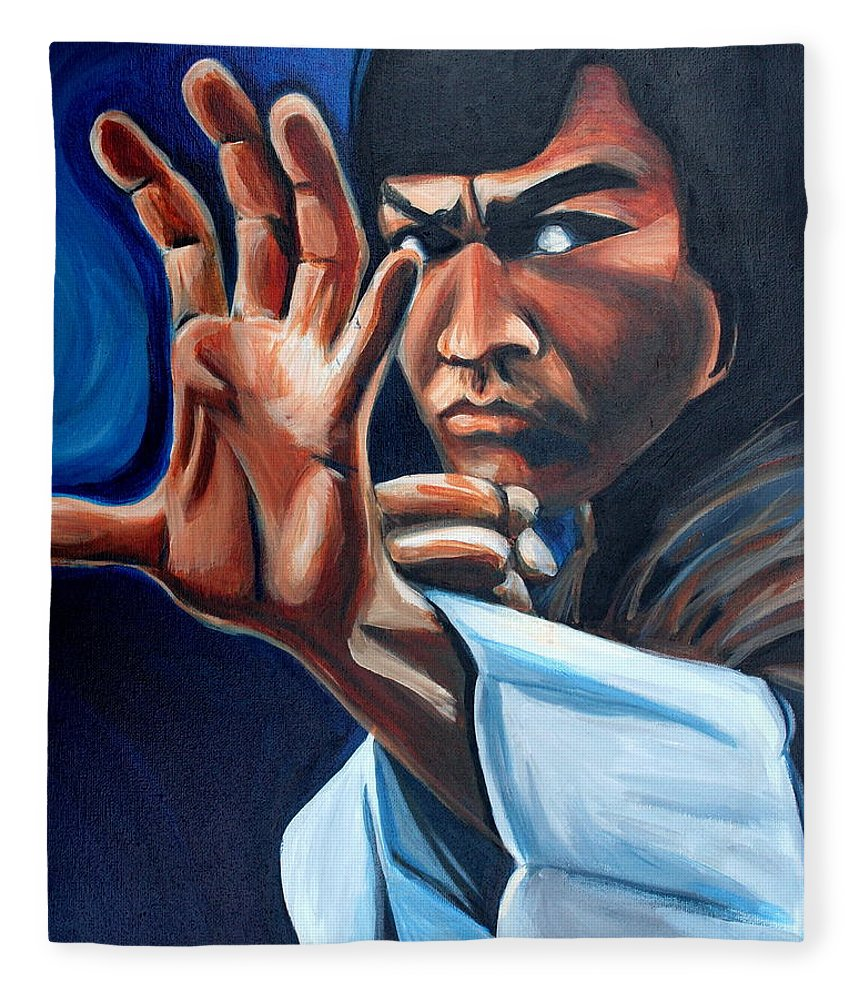 Fleece Blanket featuring the painting Bruce Lee by Kate Fortin
