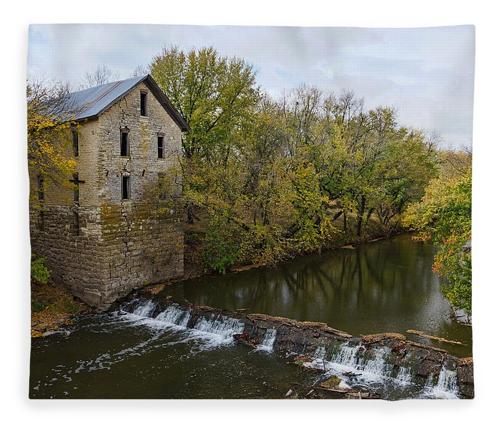 Mill Fleece Blanket featuring the photograph Cedar Point Mill by Alan Hutchins