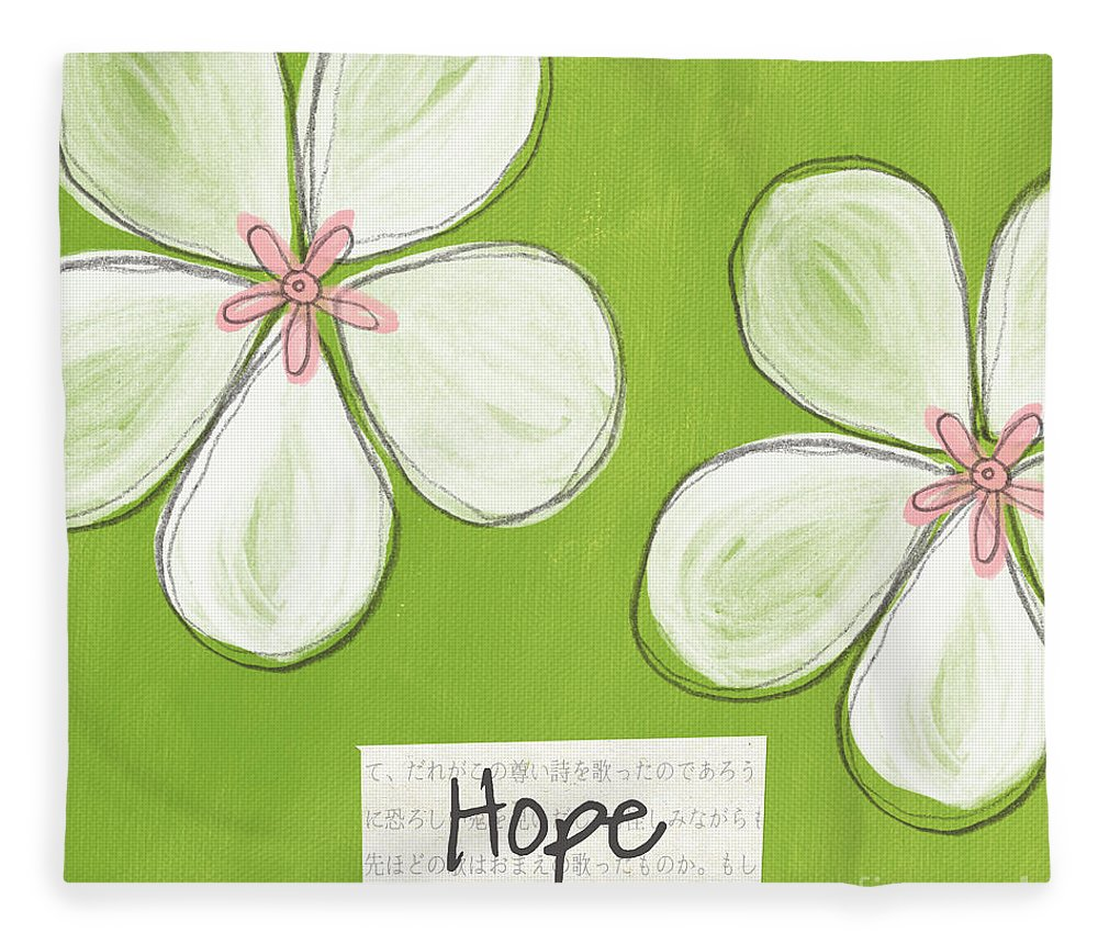 cherry Blossoms Fleece Blanket featuring the painting Cherry Blossom Hope by Linda Woods