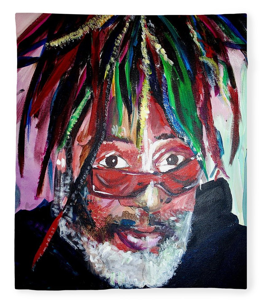 Fleece Blanket featuring the painting George Clinton by Kate Fortin