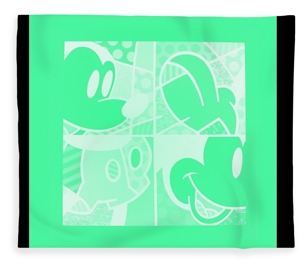 Mickey Mouse Fleece Blanket featuring the photograph Mickey In Negative Light Green by Rob Hans