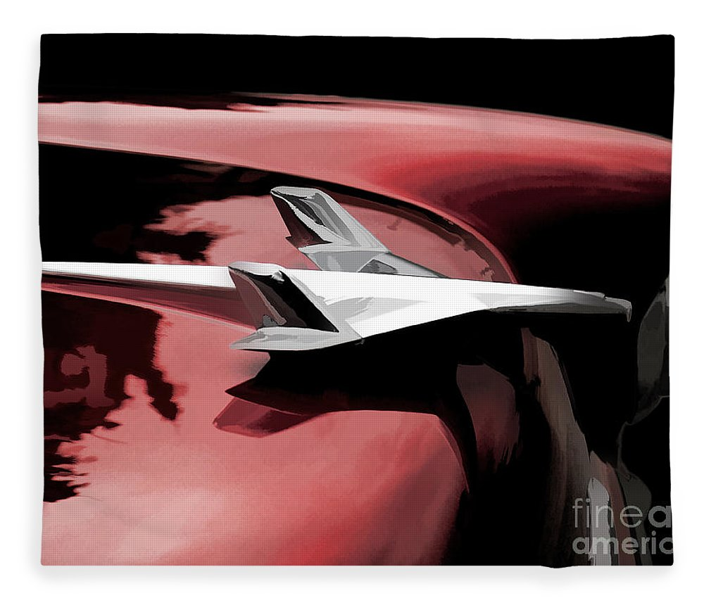 Automotive Fleece Blanket featuring the digital art Red Chevy Jet 1 by Douglas Pittman