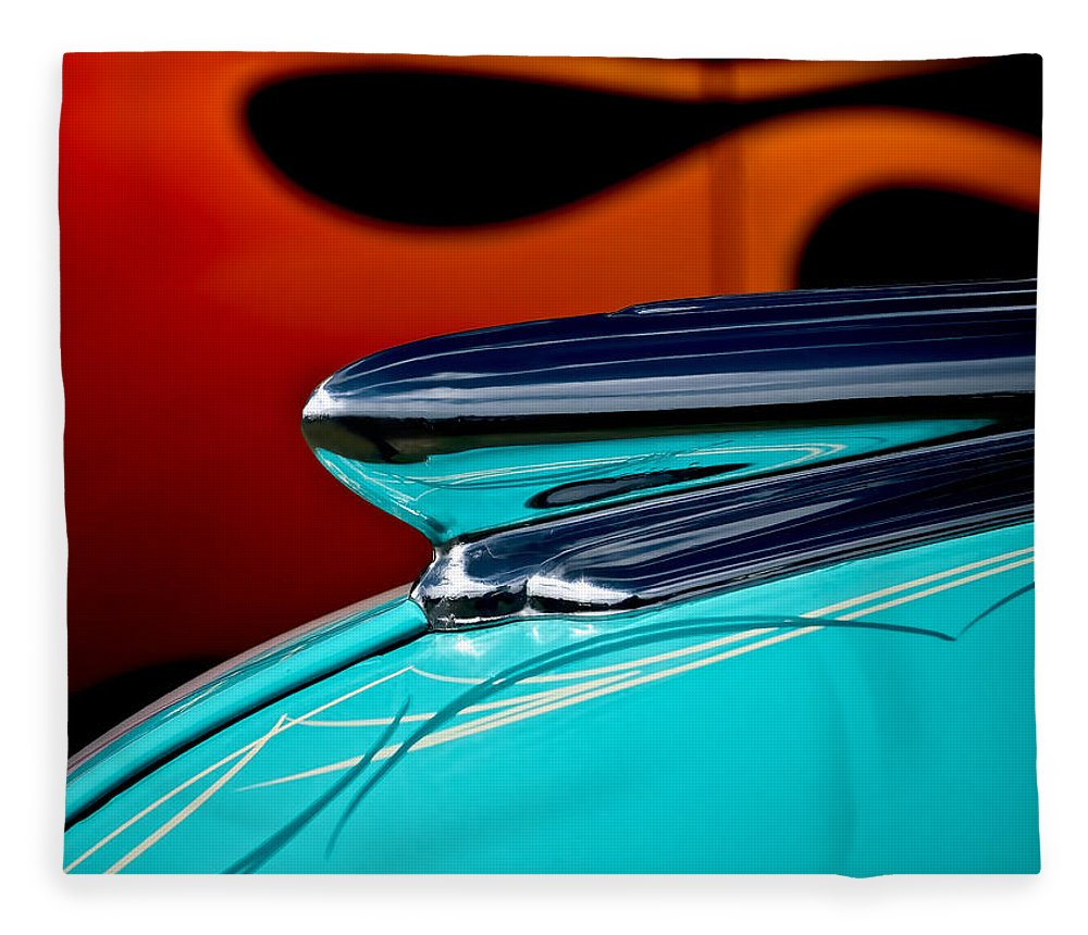 1948 Chevy Fleece Blanket featuring the photograph 1948 Chevy Hood Ornament 1948 by Douglas Pittman