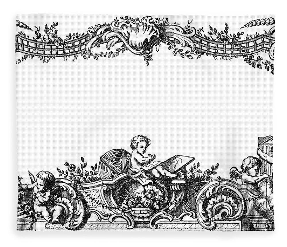 1755 Fleece Blanket featuring the photograph Cartouche, 1755 2 by Granger