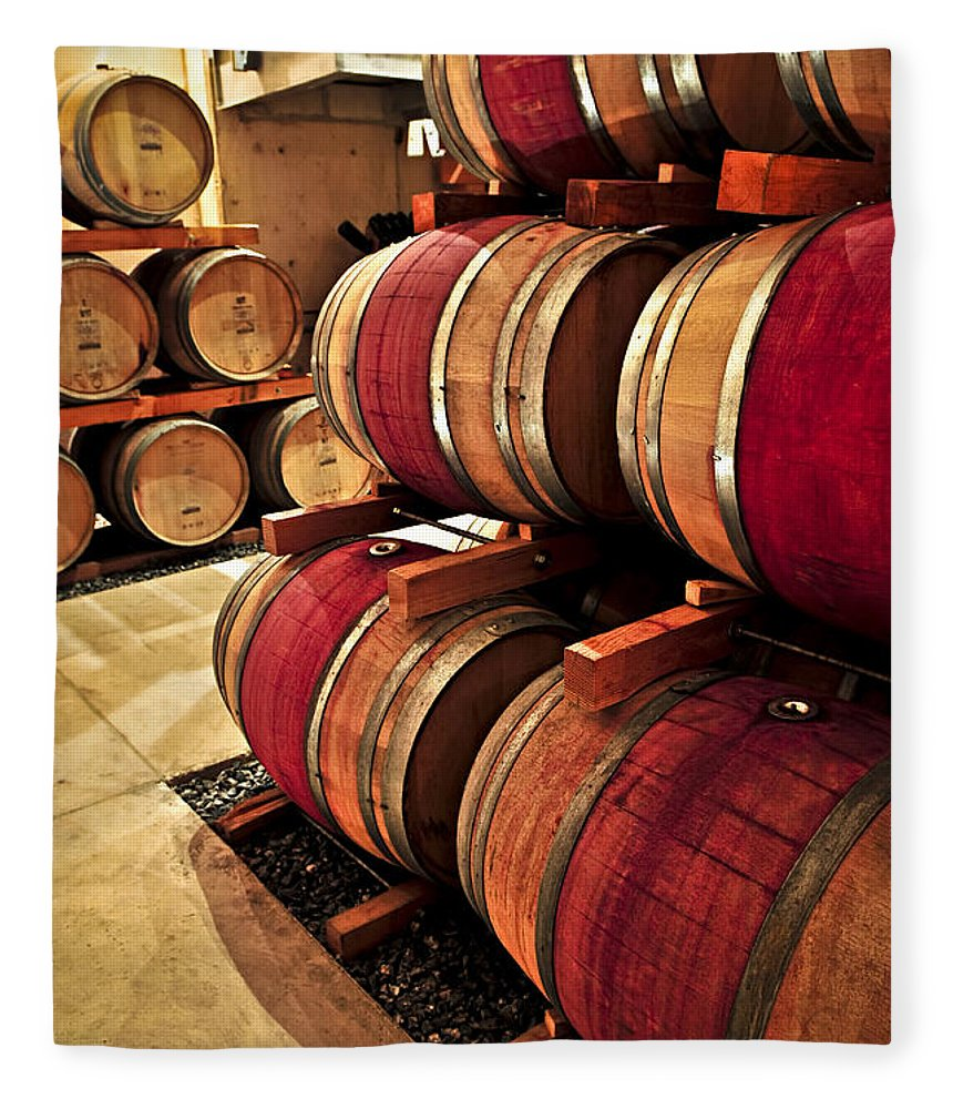 Barrels Fleece Blanket featuring the photograph Wine Barrels 2 by Elena Elisseeva