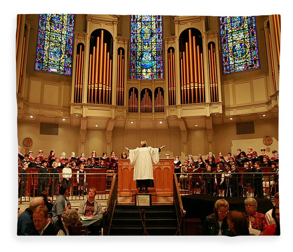 Choir St. James Cathedral Fleece Blanket featuring the photograph St James Cathedral by Mike Penney