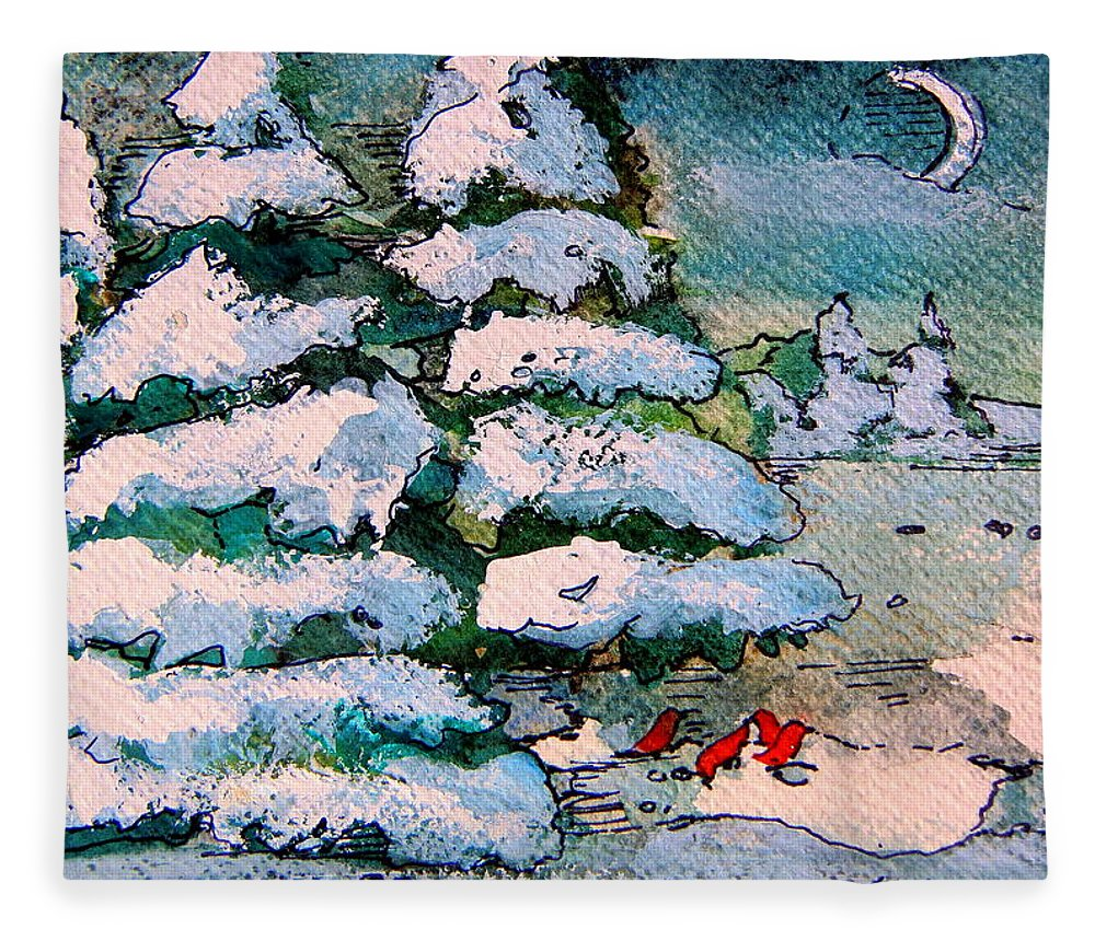 Christmas Fleece Blanket featuring the painting A Winter Feast by Mindy Newman