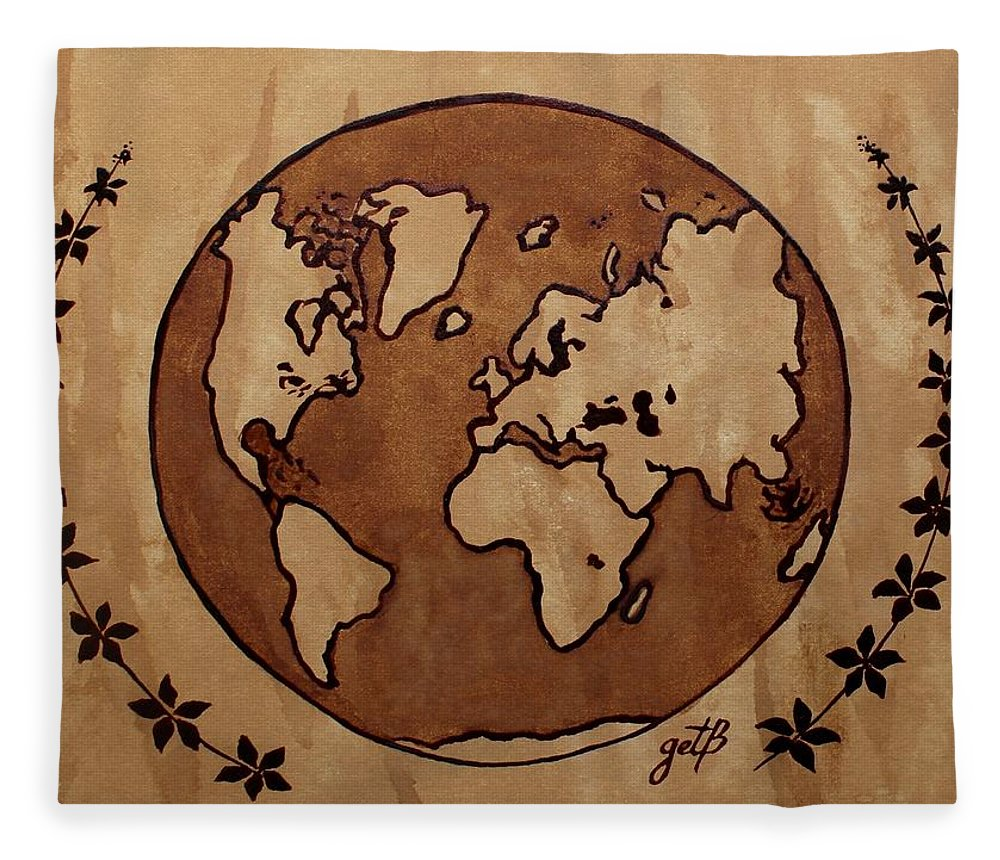 Abstract world globe map coffee painting fleece blanket for sale by world map fleece blanket featuring the painting abstract world globe map coffee painting by georgeta blanaru gumiabroncs Images