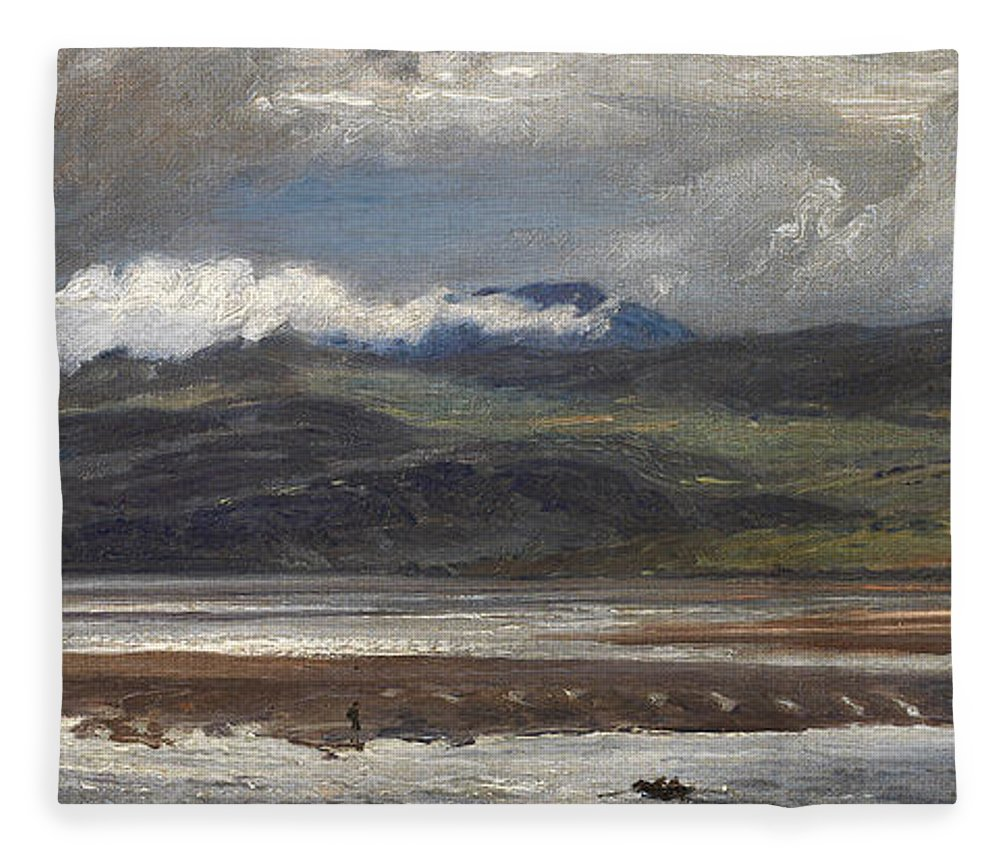 Seascape Fleece Blanket featuring the painting After Rain by Henry Moore