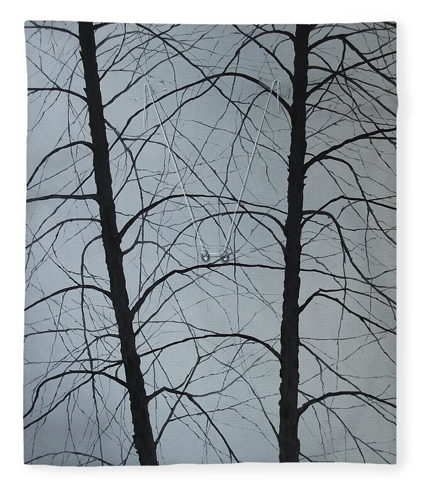 Winter Trees Fleece Blanket featuring the painting Aging by Roger Calle