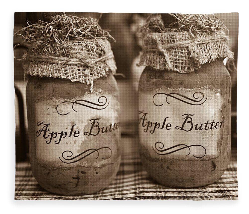 Apple Fleece Blanket featuring the photograph Apple Butter in Sepia by Douglas Barnett