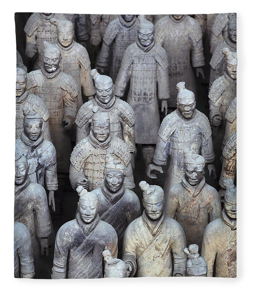 No People Fleece Blanket featuring the photograph Army Of Terracotta Warriors In Xian by Axiom Photographic