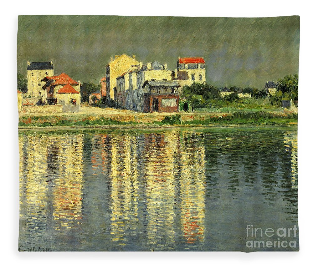 Bord De La Seine A Argenteuil Fleece Blanket featuring the painting Banks Of The Seine At Argenteuil by Gustave Caillebotte