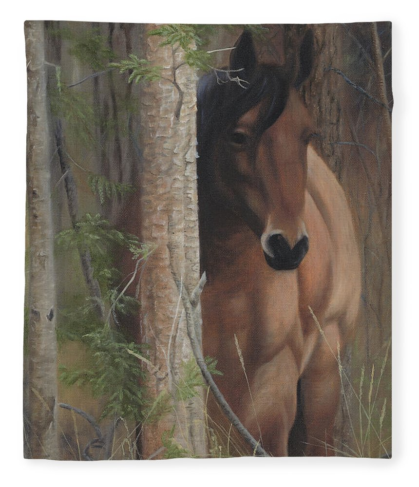Horse Behind Tree Fleece Blanket featuring the painting Bashful by Tammy Taylor