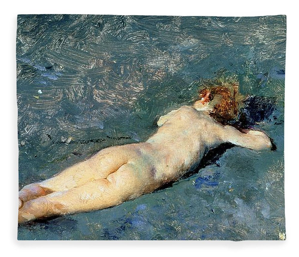 Nude Fleece Blanket featuring the painting Beach At Portici by Mariano Fortuny y Marsal