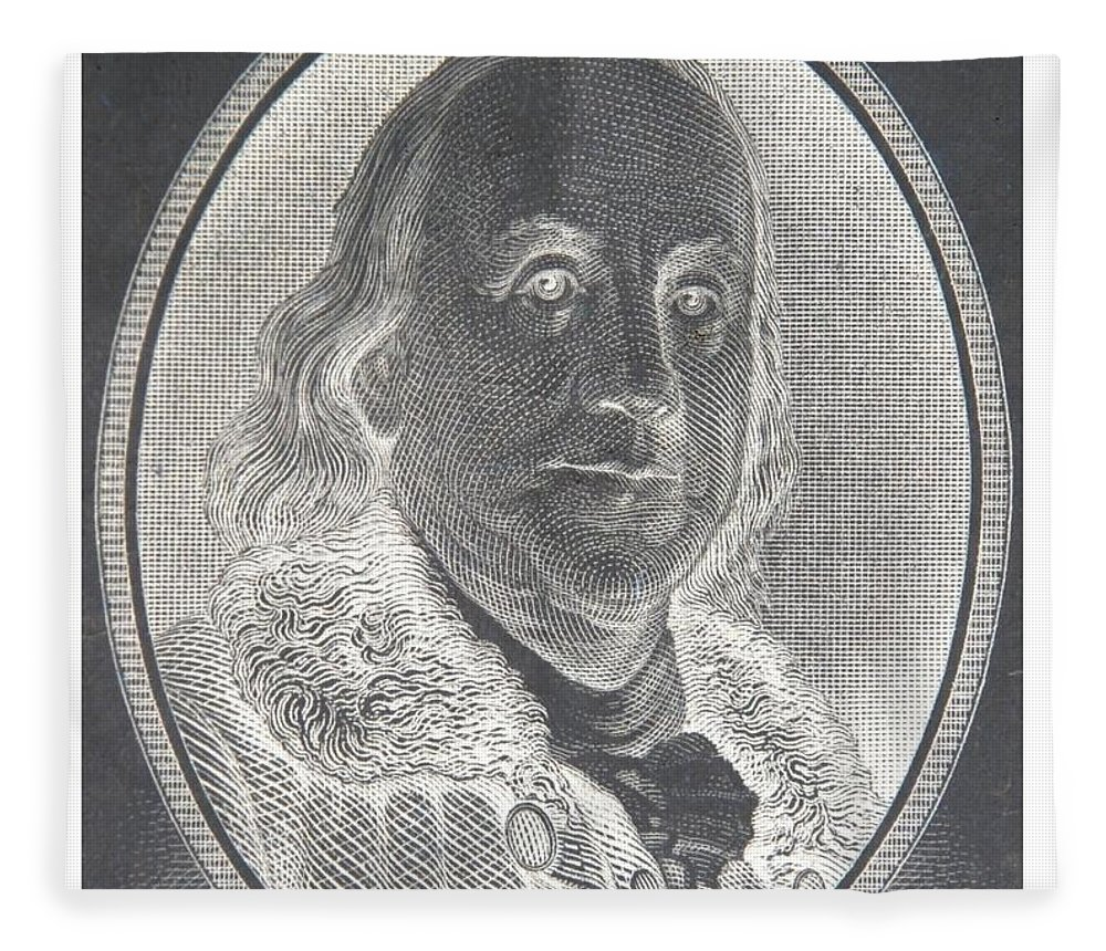 Ben Franklin Fleece Blanket featuring the photograph Ben Franklin In Negative by Rob Hans