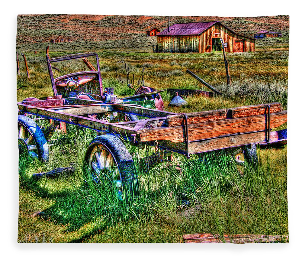 Hdr Fleece Blanket featuring the photograph Bodie Vintage Flatbed by Chris Brannen