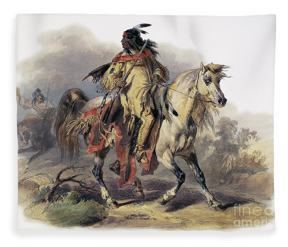 1844 Fleece Blanket featuring the photograph Bodmer: Blackfoot Horseman by Granger