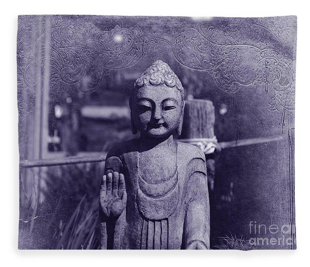 Buddha Fleece Blanket featuring the photograph Buddhas Words by Susanne Van Hulst