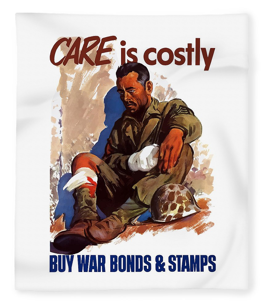 War Bonds Fleece Blanket featuring the painting Buy War Bonds And Stamps by War Is Hell Store