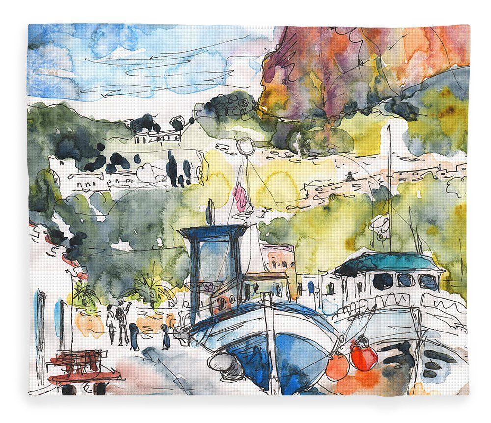 Travel Fleece Blanket featuring the painting Calpe Harbour 05 by Miki De Goodaboom