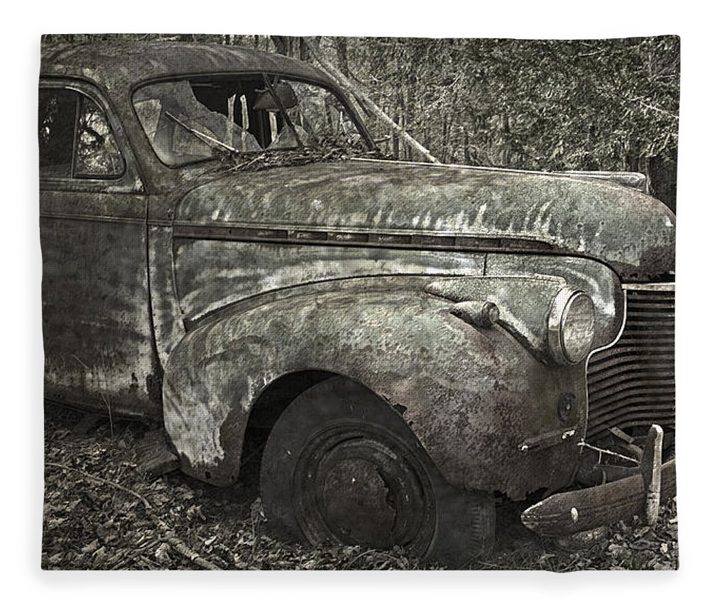 Rustbuckets Fleece Blanket featuring the photograph Camouflage Classic Car by John Stephens
