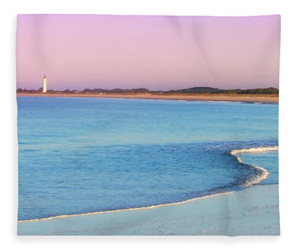 Cape May Fleece Blanket featuring the photograph Cape May Light House Panorama by Bill Cannon