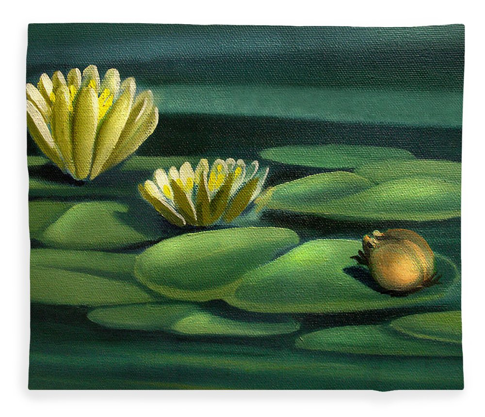 Card of frog with lily pad flowers fleece blanket for sale by nancy frog fleece blanket featuring the painting card of frog with lily pad flowers by nancy griswold izmirmasajfo Images