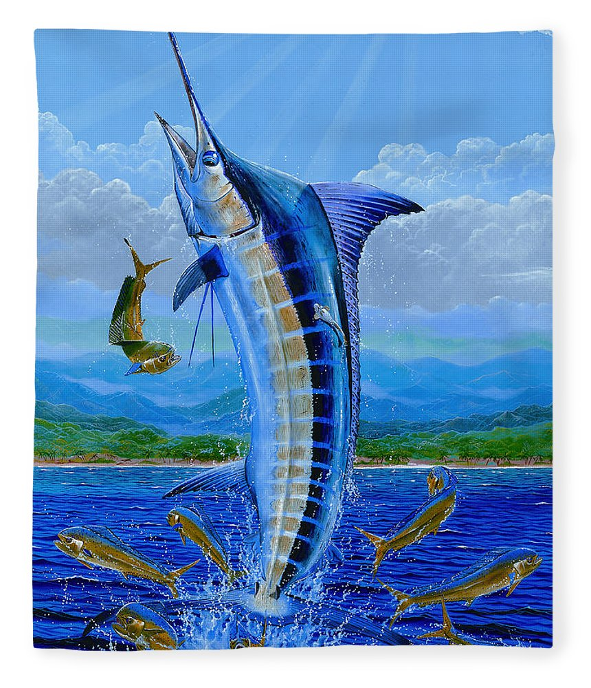 Marlin Fleece Blanket featuring the painting Caribbean Blue by Carey Chen