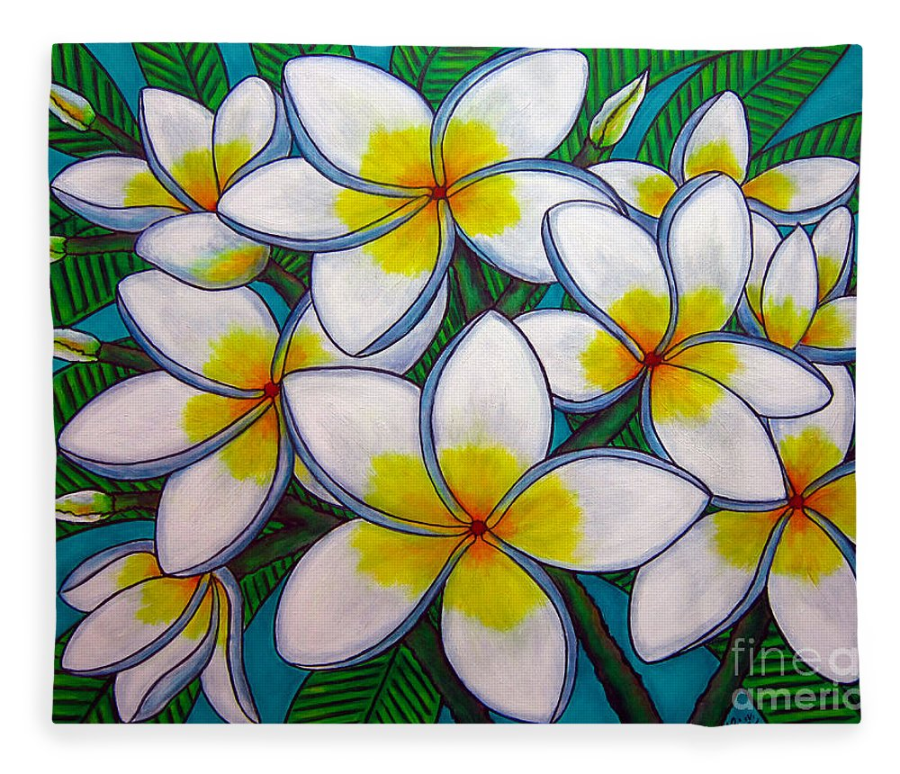 Frangipani Fleece Blanket featuring the painting Caribbean Gems by Lisa Lorenz