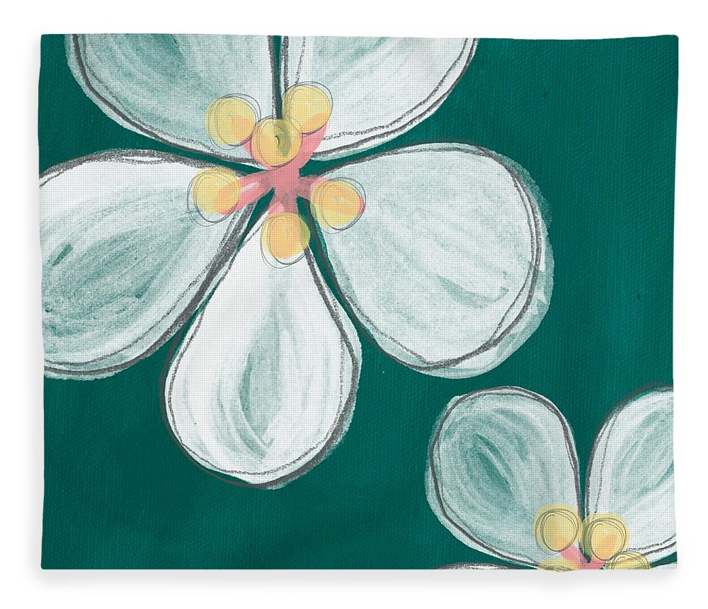 cherry Blossoms Fleece Blanket featuring the painting Cherry Blossoms by Linda Woods
